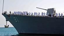 """المدمرة الأميركية """"تشرشل"""" تصل ميناء بورتسودان 1 مارس 2021"""