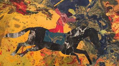 من اجواء الربيع العربي .. لوحة للرسام المصري محمد عبلة