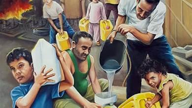 معاناة أهالي عدن بحرب 2015م في لوحة لفنان تشكيلي
