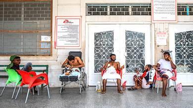 مدخل مستشفى أطباء بلا حدود في عدن. افتتح المستشفى في عام 2012