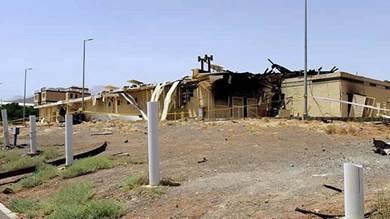صورة تظهر بعض الأضرار التي تسبب بها حريق منشأة نطنز النووية (أ ف ب)