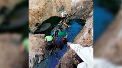 صورة لتسرب نفطي في أحد الأنابيب محل الدراسة بمحافظة شبوة النفطية