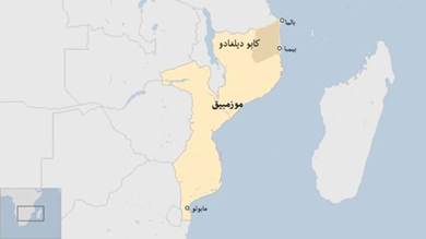 """خريطة توضح موقع مدينة """"بالما"""" في موزمبيق"""