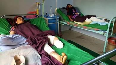 صورة من الأرشيف لامرأة أصيبت بلغم حوثي