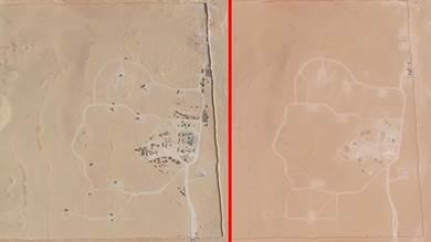 صورتان؛ تُظهر التي على اليسار صواريخ الباتريوت قبل سحبها من قبل القوات الأميركية؛ وعلى اليمين بعد سحبها